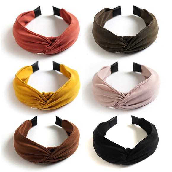 2pcs Cross Knot Wide Hair Cotton Hoop Bands with Cloth Wrapped for Women