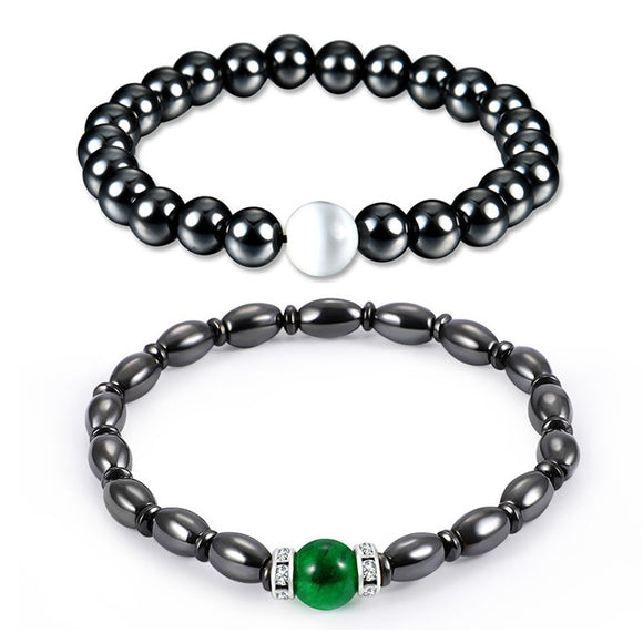 2pcs Magnetic Therapy Hematite Bead Bracelet Healthcare Jewelry