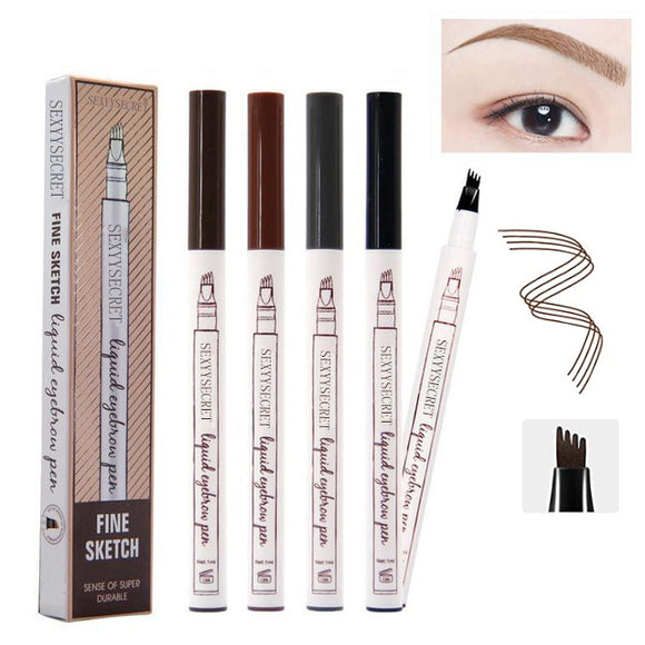 2pcs Waterproof Tattoo Eyebrow Ink Pen with 4 Tips Fork