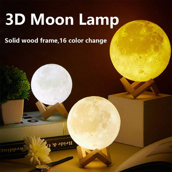3D 16 Colors Space USB Moon Lamp
