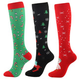 3 Pairs Christmas Knee-High Compression Socks for Women & Men