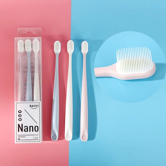 3Pcs Ultra Soft Silicone Bristles Toothbrush