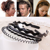 4pcs/sets Unisex Black Spring Wavy Hair Hoop Band