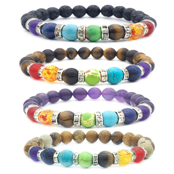 4 Packs 8mm Natural Healing Stone Stretch Beads Bracelet