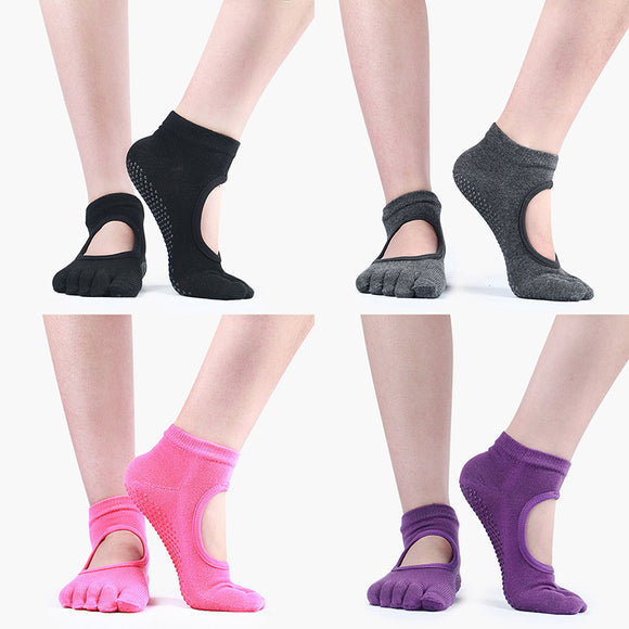4 Pairs Women Antislip 5 Toe Cotton Yoga Socks for Pilates Barre Barefoot