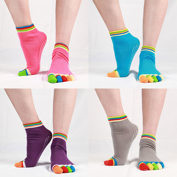 4 Pairs Women Antislip Ankle Grip Colorful 5 Toe Finger Cotton Yoga Socks