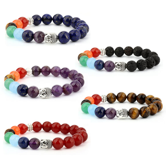 5 Packs 6mm Natural Healing Chakra Stone Stretch Beads Bracelet