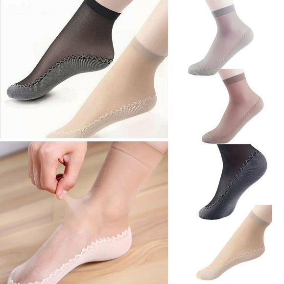 5 Pairs Womens Anti-Slip Ankle High Silky Socks Thin Sheer Short Socks