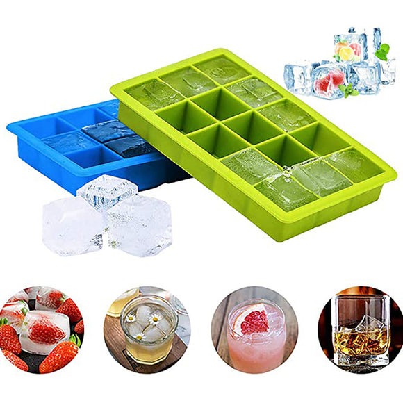 15-Cube Silicone Ice Cube Trays Easy-Release Flexible Ice Cube Mould Makers