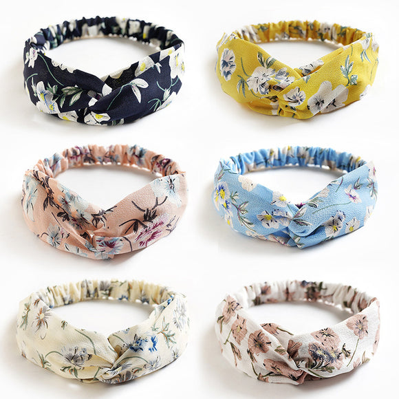 6pcs Cross Knot Chiffon Floral Headband Elastic Headwear Head Wrap