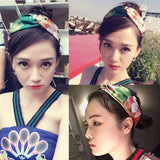 6pcs Cross Knot Chiffon Bohemia Headband Elastic Headwear Head Wrap