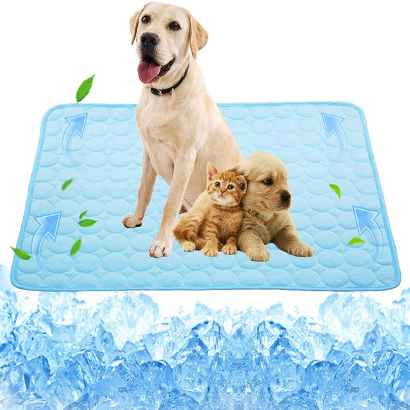 Washable Dog Cooling Mat Ice Silk Pet Self Cooling Pad Blanket