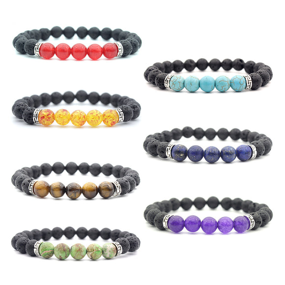 7 Packs 8mm Natural Lava Stone 7 Chakra Healing Stretch Beads Bracelet
