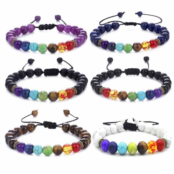 6pcs Adjustable Men Women 8mm 7 Chakras Lava Stone Bead Health Care Bracelet