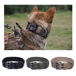 Army Green Double Row Adjustable Buckle Thickened Canvas Nylon Collar