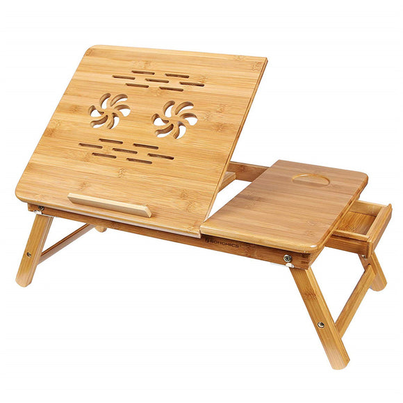 Bamboo Laptop Desk Serving Bed Tray Tilting Top