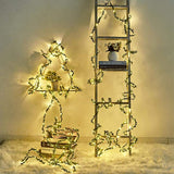 Battery Operated Green Leaf Rattan String Light Christmas Decor