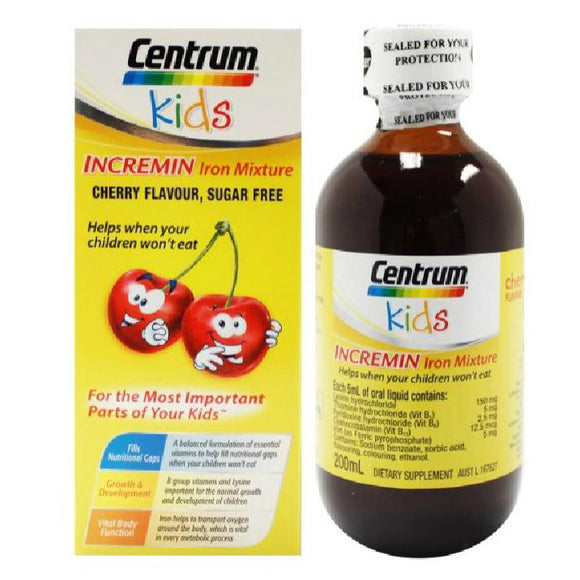 Centrum Kids Incremin Iron Mixture Cherry Flavour 200ml