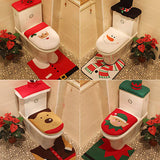 Christmas Toilet Seat Cover Rug Set Closestool Decoration Bathroom