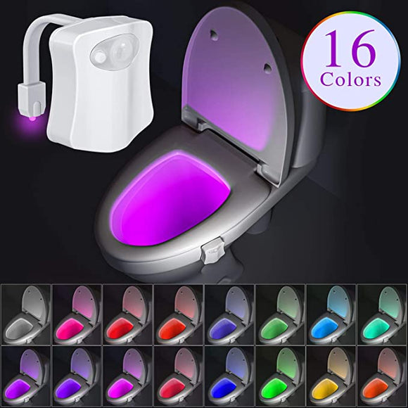 16 Color Changing LED Toilet Bowl Night Light Motion Activated