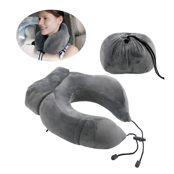Comfortable Memory Foam Travel Neck Pillow w. Foldable Pouch