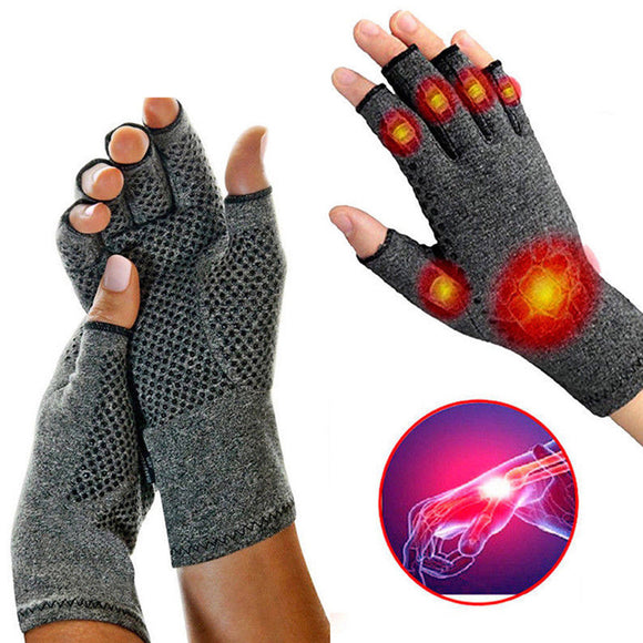 Compression Fingerless Textured Grips Gloves Arthritic Joint Pain Relief