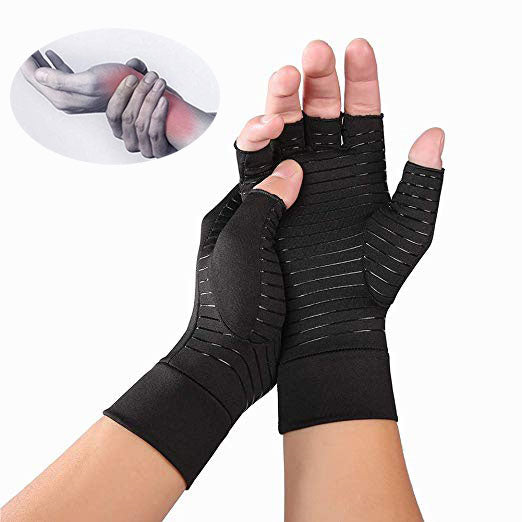Genuin Copper-Infused Fingerless Compression Gloves for Women and Men