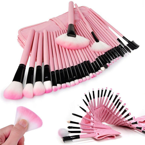32pcs Cosmetic Makeup Premium Synthetic Brushes Set with Bag