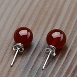 Crystal Gemstone Agate Round Beads Stud Earrings