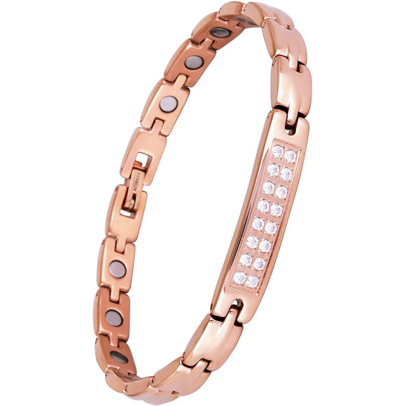 Crystal Rhinestone Titanium Magnetic Therapy Health Bracelet Bangles