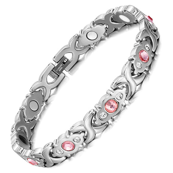 Crystal Rhinestone Titanium Magnetic Therapy Health Bracelet Pain Relief