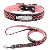 Custom Braided Leather Engraved Dog Collars with Personalized Nameplate