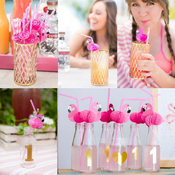 20Pcs Disposable Flamingo Paper Drinking Straw Decorations