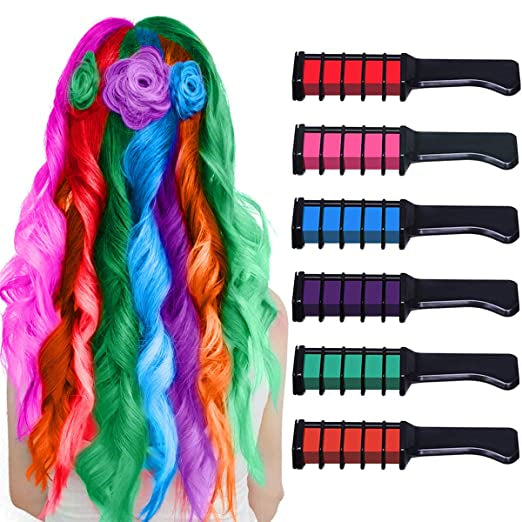 6 Bright Disposable Temporary Washable Hair Color Dye Chalk Comb