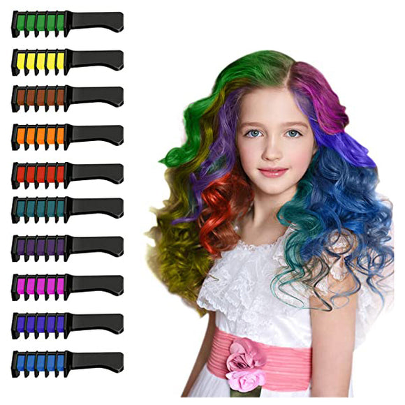 10 Bright Disposable Temporary Washable Hair Color Dye Chalk Comb