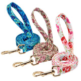 Floral Print Personalized Dog Tag Collar Leash Free Engrave Nameplate