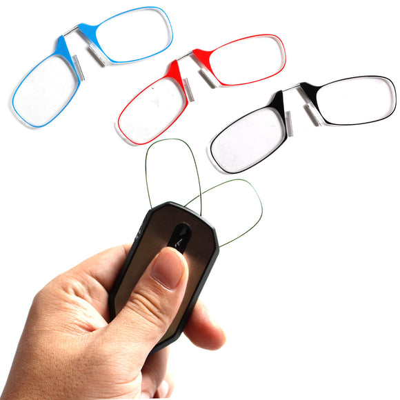 Unisex Foldable Nose Clip Reading Glasses with Keychain