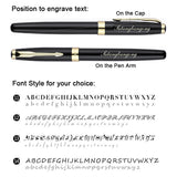 Free Engraving Personalized Black Ink Roller Ballpoint Pen with 3 Refills