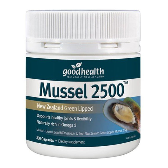Good Health Mussel 2500 300 Capsules - New Zealand Green Lipped
