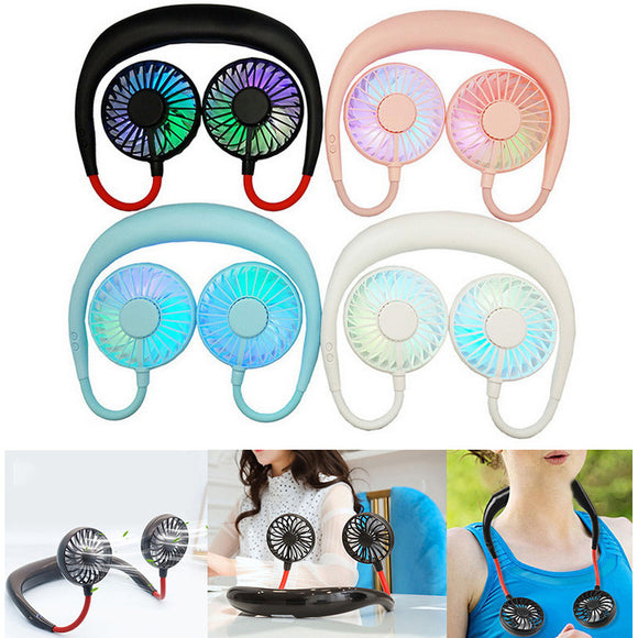 Hands-free Neck Hanging Fan USB Rechargeable Mini Portable Sports Cooler