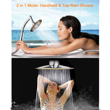 6 Inch Ultra-Thin High Pressure Top Rainfall Booster Shower Head with Free Shower Horse