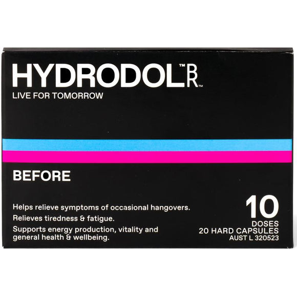 Hydrodol BEFORE Hangover Relief 10 Dose (20 Hard Capsules)