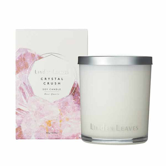 Linden Leaves Crystal Crush Soy Candle - Rose Quartz (300g)