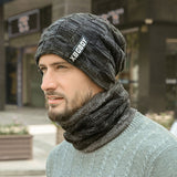 Men Winter Warm Scarf and Knitted Hat Beanies