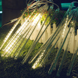 Meteor Shower String Lights Solar Power 30cm 10 Tubes 360-LED Falling Rain Drop Lights