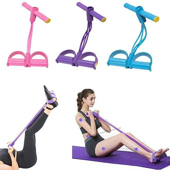 Multi-function 4-Tubes Fitness Resistance Band Exercise Pull Rope