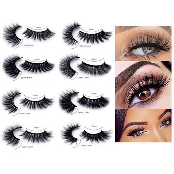Natural Layered Thick Long 3D Mink Fur False Eyelashes