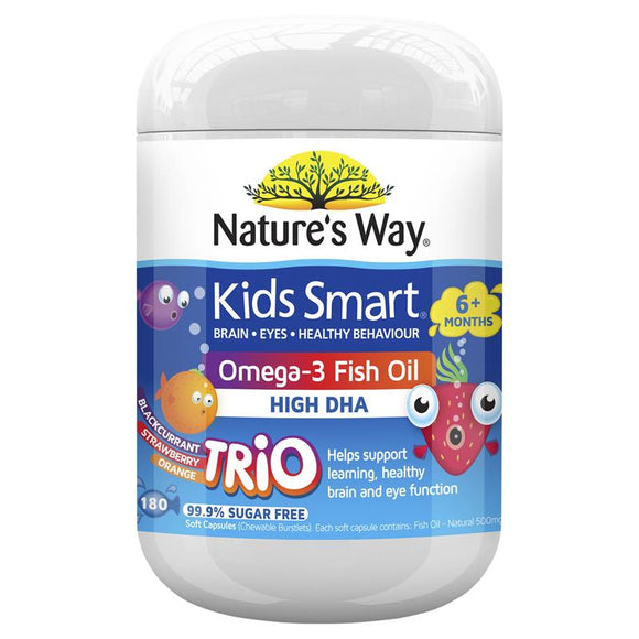 Nature's Way Kids Smart Omega-3 Fish Oil High DHA Trio 180s