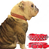 Adjustable PU Leather Pet Collar Punk Rivet Round Spikes Studded Dog Collars