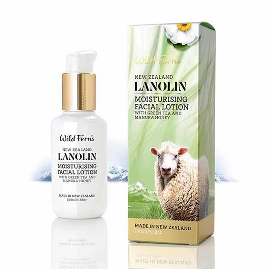 Parrs Wild Ferns Lanolin Moisturising Facial Lotion with Green Tea and Manuka Honey 100ml